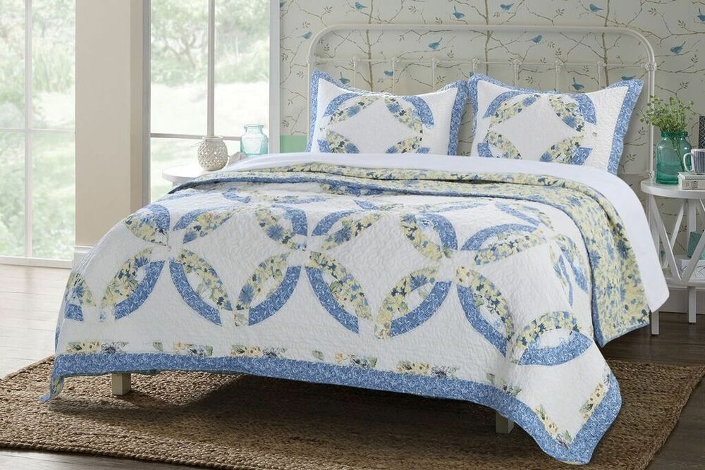 Twin Quilt Set Double Wedding Ring Patchwork Cotton Ebay