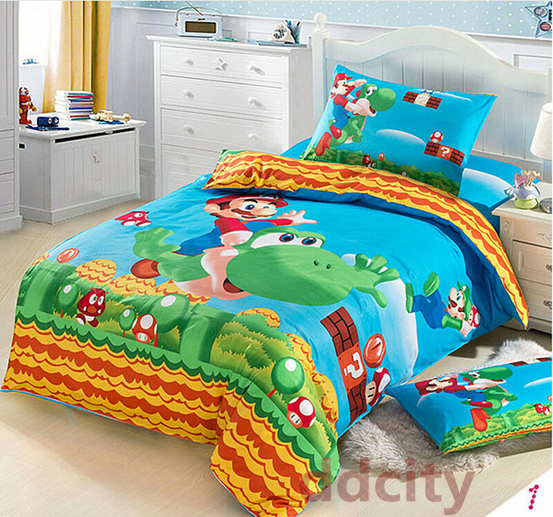 Super Mario Pattern Duvet Cover Pillowcases Bedding Set