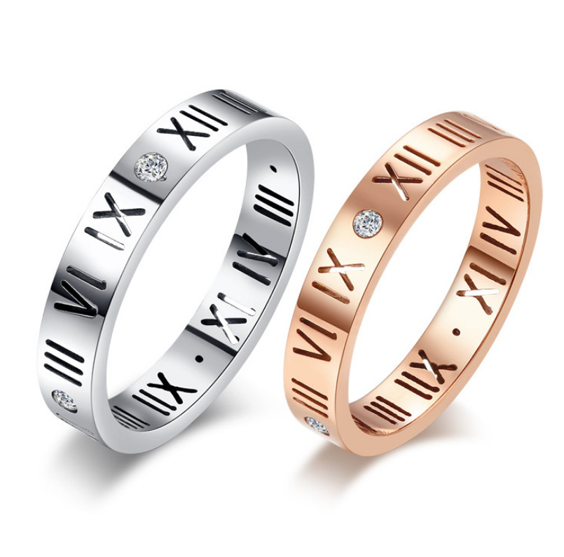 """Roman Numeral Wedding Bands: Micro-inlay CZ """"Roman Numerals"""" Silver/Rose Gold"""