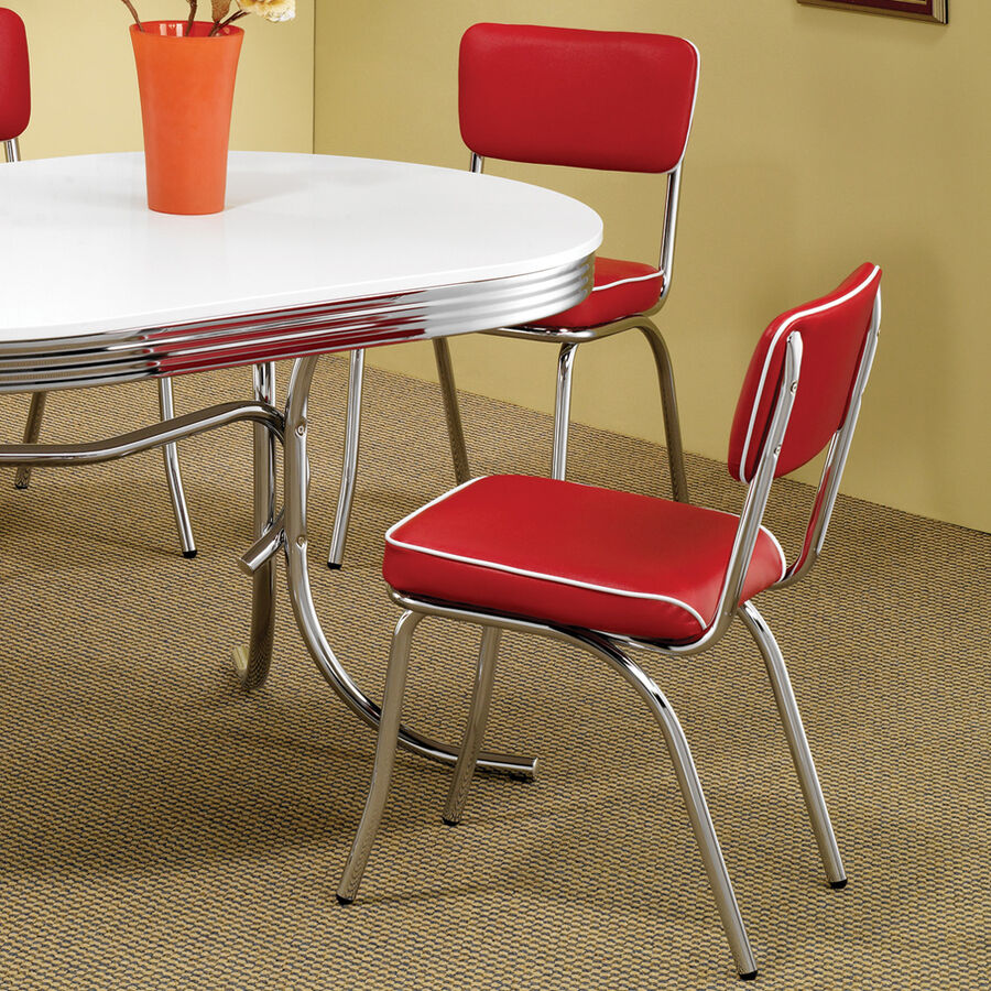 Red Retro Dining Chair 2 Pack 50 S Diner Chrome Kitchen
