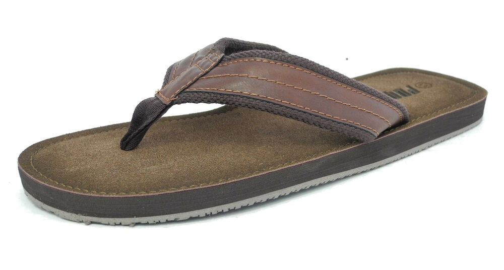 Mens Leather Look Toe Post Flip Flops Beach Summer Shoes -4012