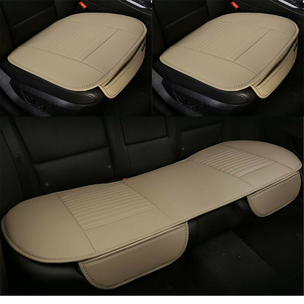 new smooth pu leather car seat covers seat cushion car seat covers full set of 3 ebay. Black Bedroom Furniture Sets. Home Design Ideas