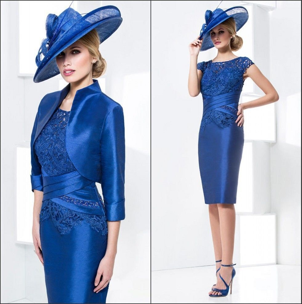 Royal blue mother of the bride outfits wedding party for Dress and jacket outfits for weddings