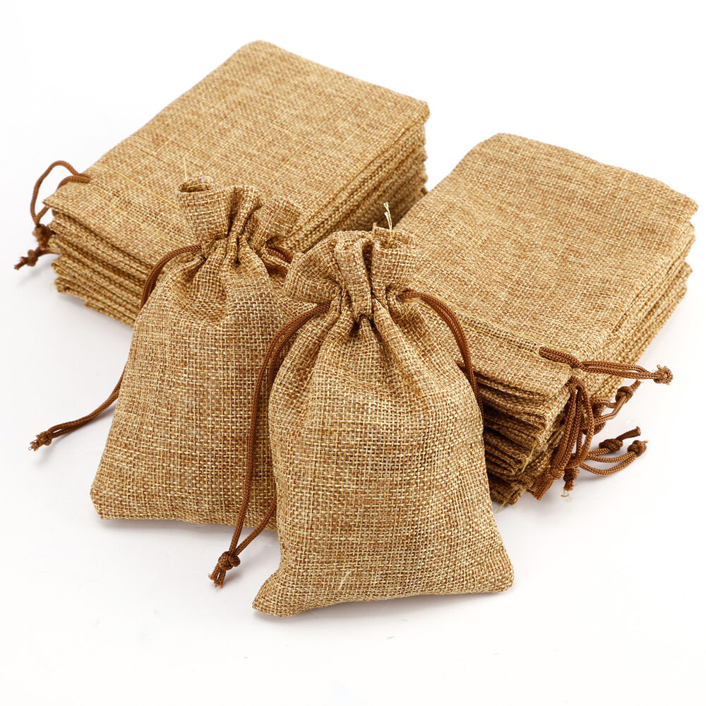 20 x natural jute hessian drawstring pouch burlap wedding favor gift bags 9x14cm ebay. Black Bedroom Furniture Sets. Home Design Ideas