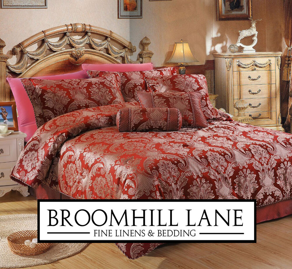 Brand New Deep Wine Red Luxury Shimmering Gold Bedspread