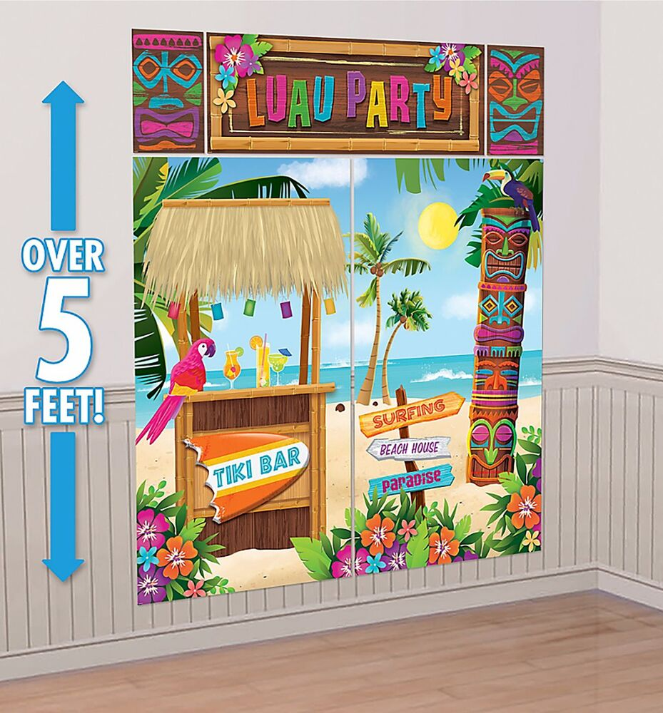 Tiki scene setter wall decoration poster luau beach party for Poster decoration ideas