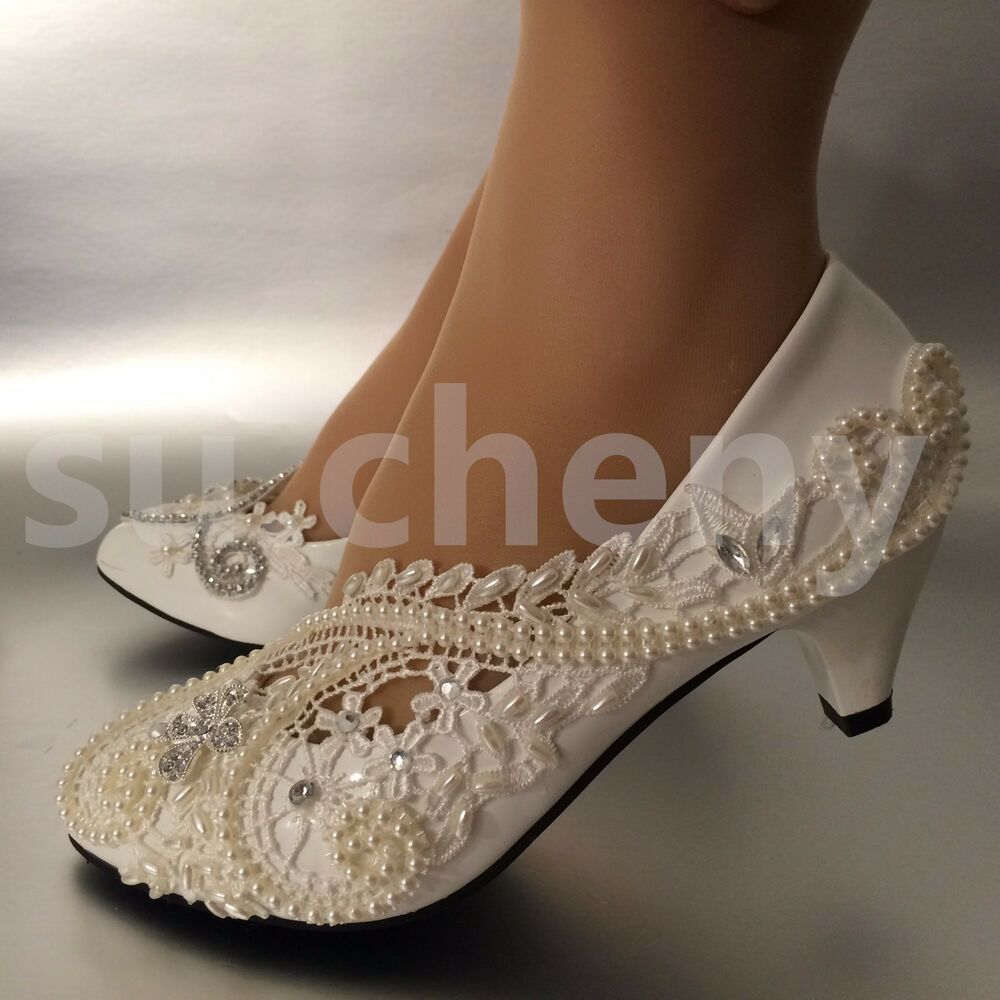 "2"" Low Heel White Ivory Pearls Lace Crystal Wedding Shoes"