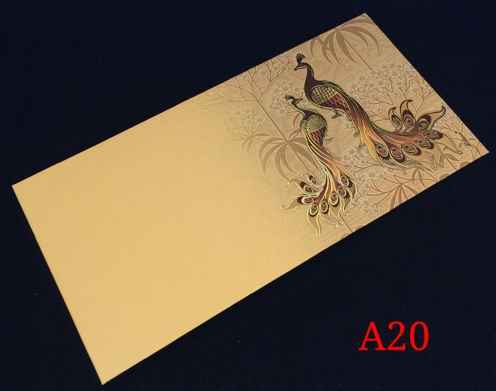 Peacock Wedding Invite Shagun Salami Money Gift Cream Envelope Cash ...