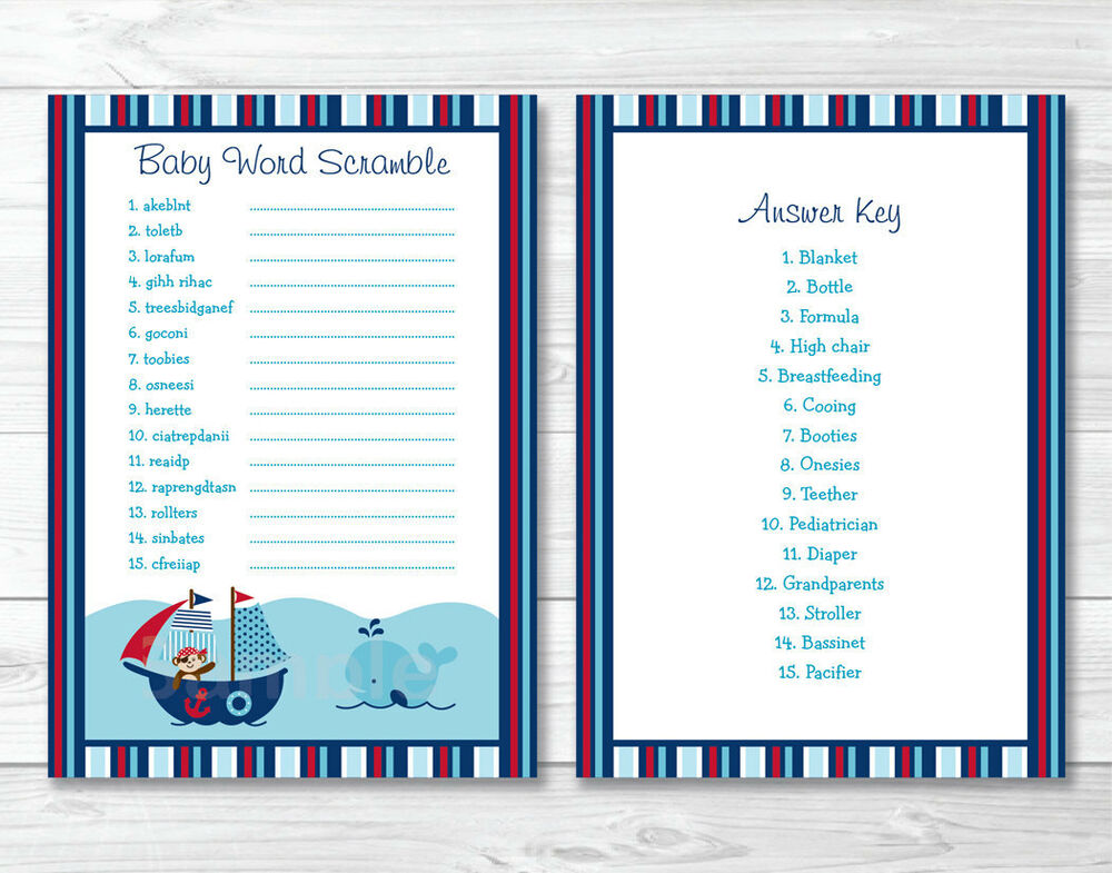 Punchy image inside free printable baby shower games word scramble