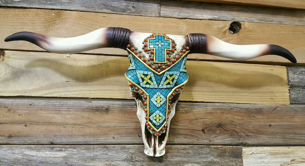 """Western Cow Skull With Tribal Tile Design 21"""" × 12"""" Home"""
