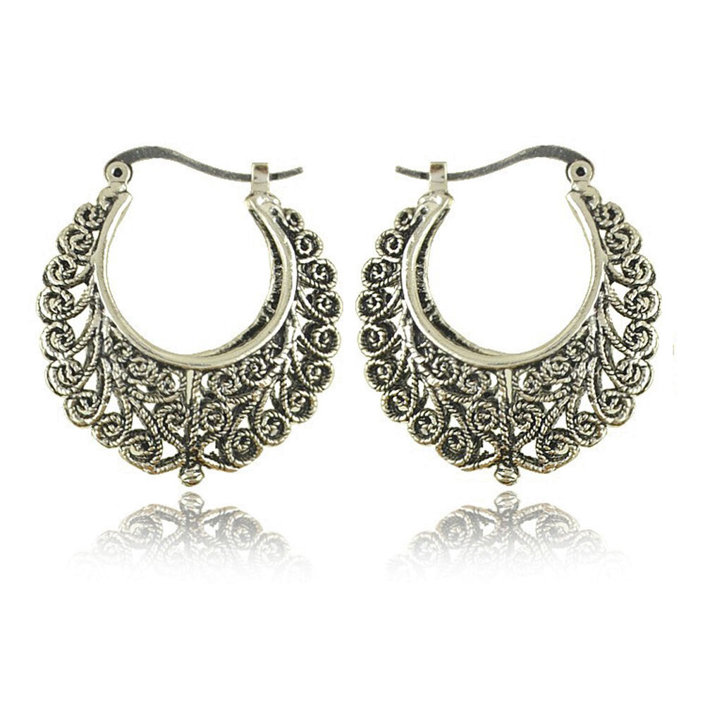 Bohemian Boho Style Antique Silver Hollow Carved Sharp Dangle Women Earrings Ebay