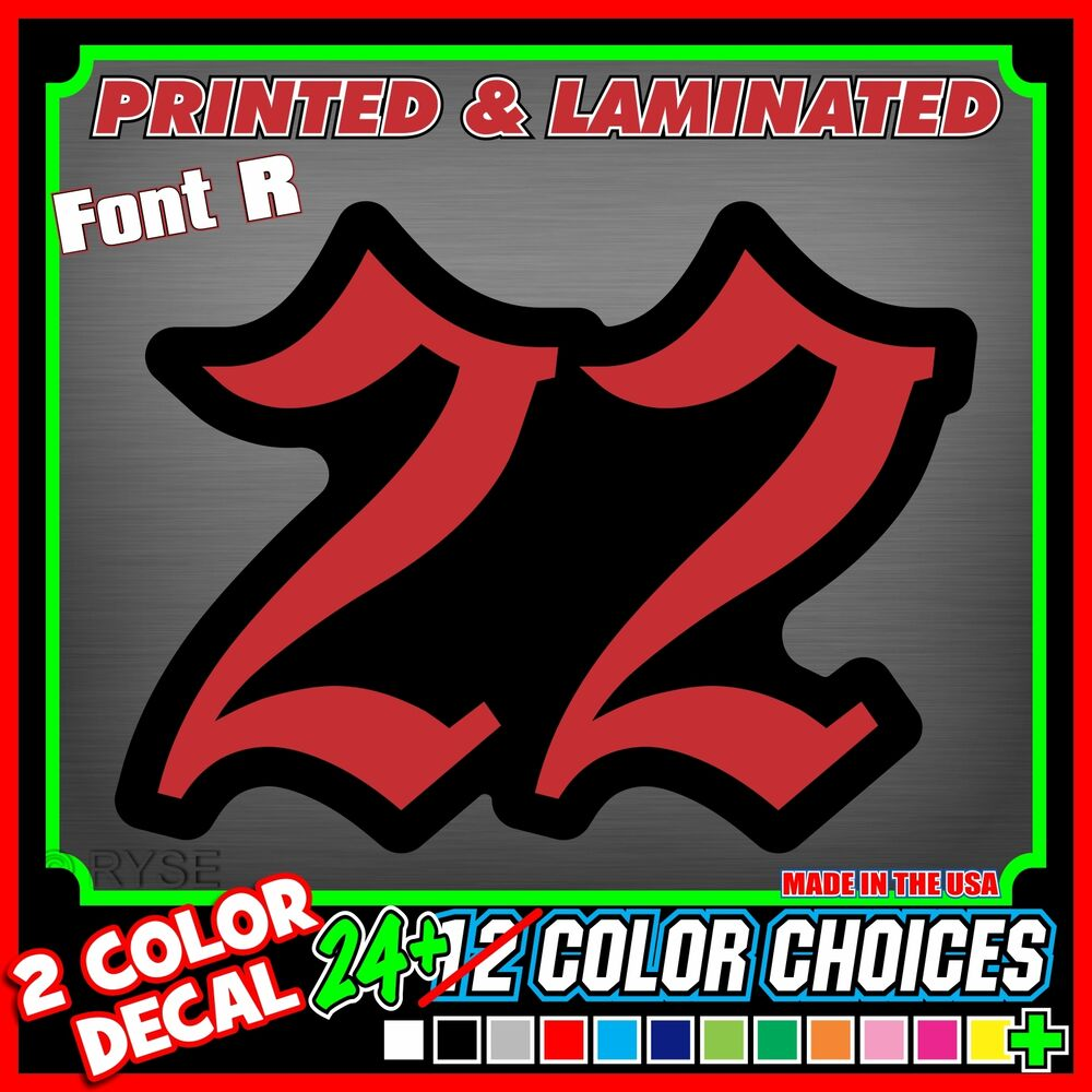 Details about 3 custom racing number plate vinyl decals go kart snowmobile dirt bike sx mx atv