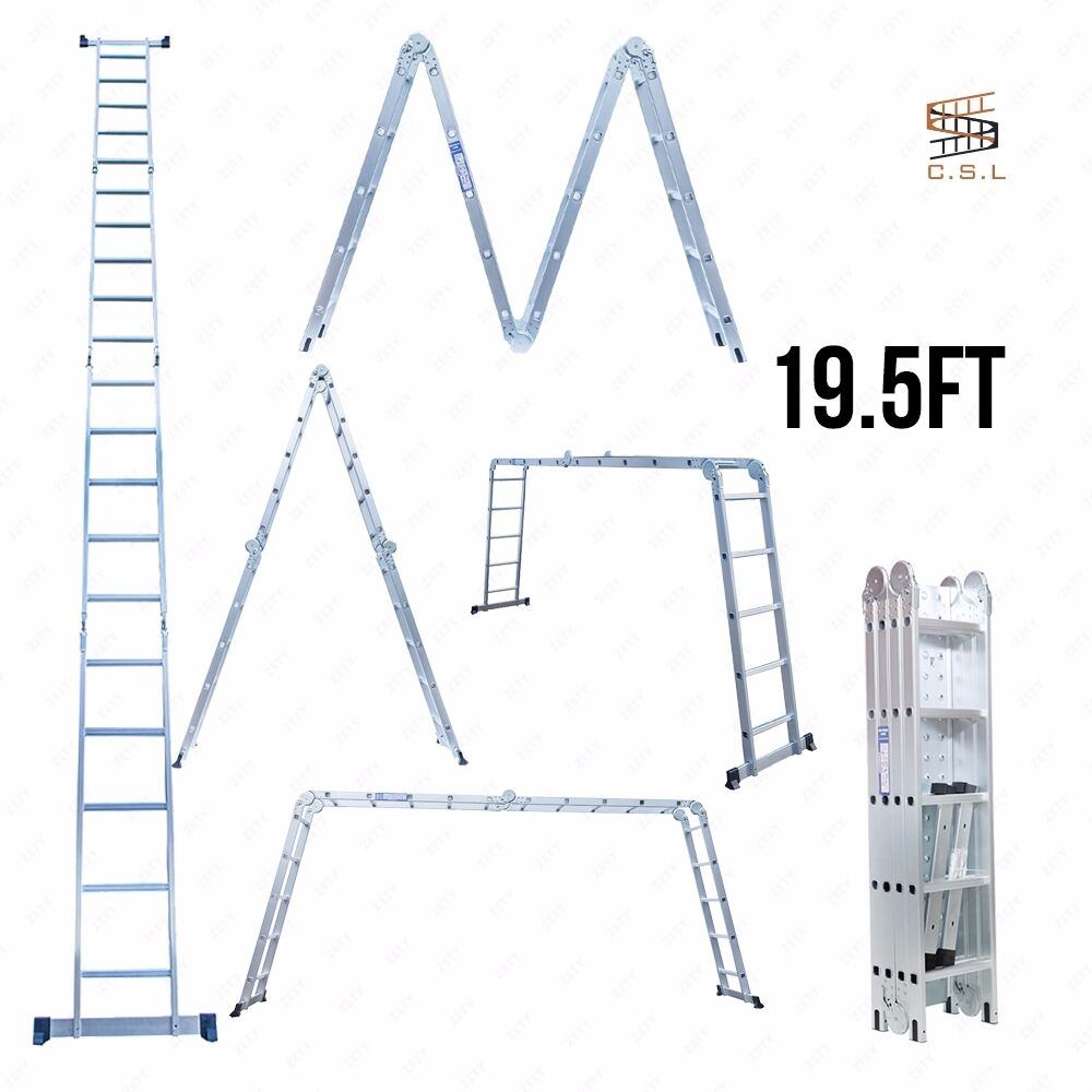 Bn 19 5ft silver 4x5 multi purpose folding aluminum ladder for Chambre 4x5 folding
