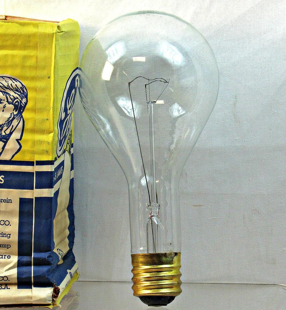Vintage General Electric Mazda Edison Light Bulb Lamp 4000l 15a 8 5 L 295 Watt Ebay