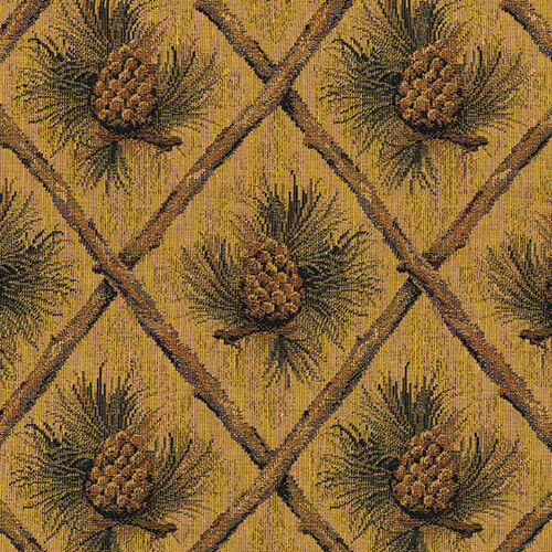 Pinecone Upholstery Fabric Mountain Lodge Cabin Rustic