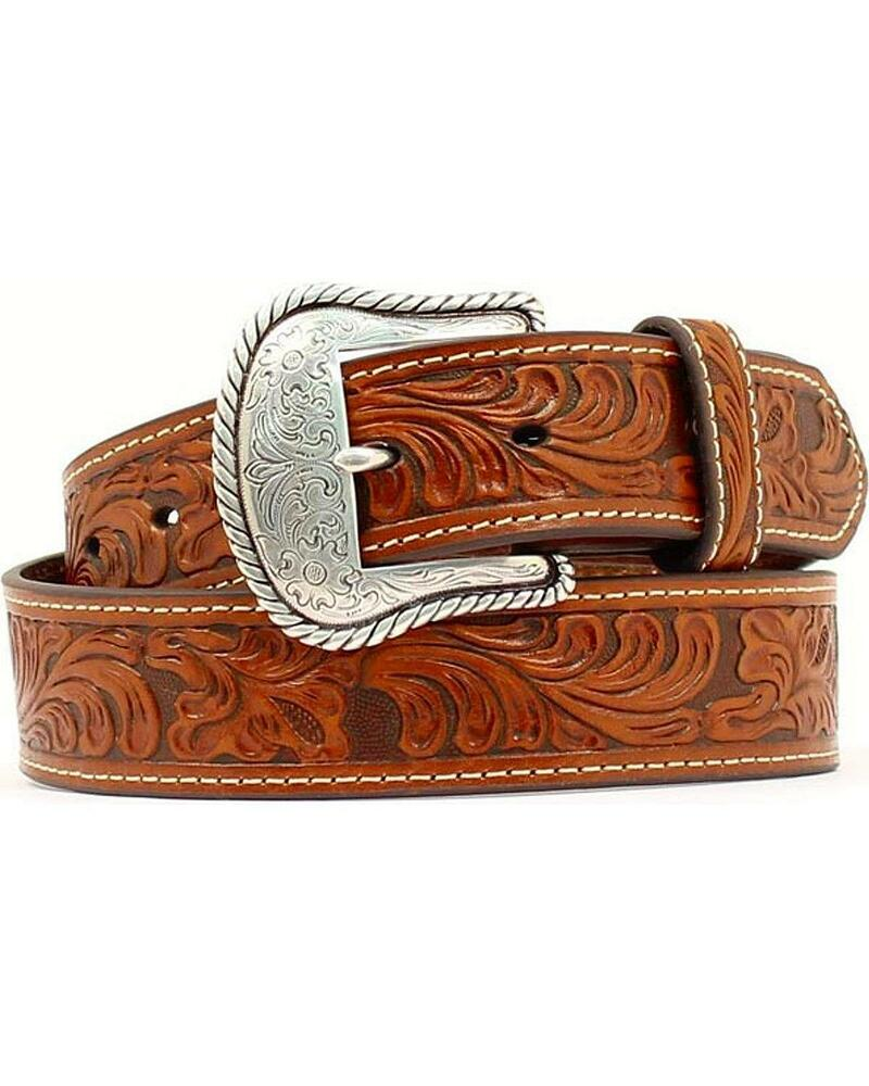 m f western s floral embossed leather belt