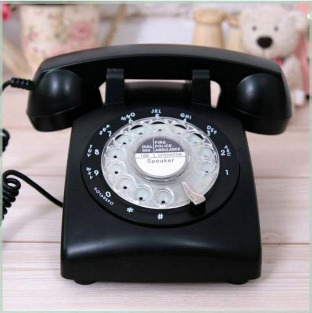 black rotary retro cord telephone phone vintage 1960 39 s office work desk classic ebay. Black Bedroom Furniture Sets. Home Design Ideas