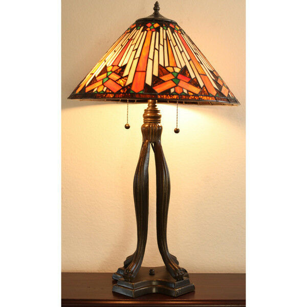 Tiffany Style Mesa Table Lamp Stained Glass 18 Quot Shade Ebay