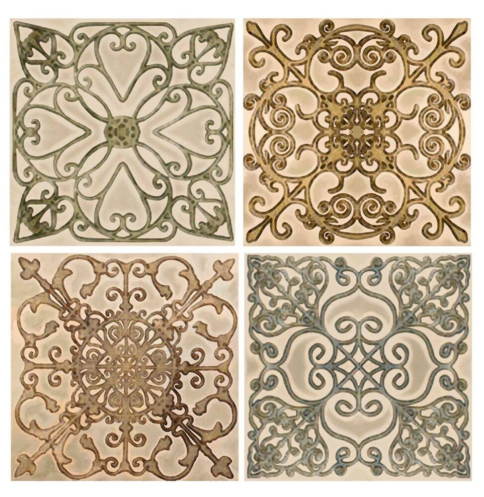 Scroll Set Decorative Backsplash Ceramic Artistic Accent Border Tiles 4 Tile Set Ebay
