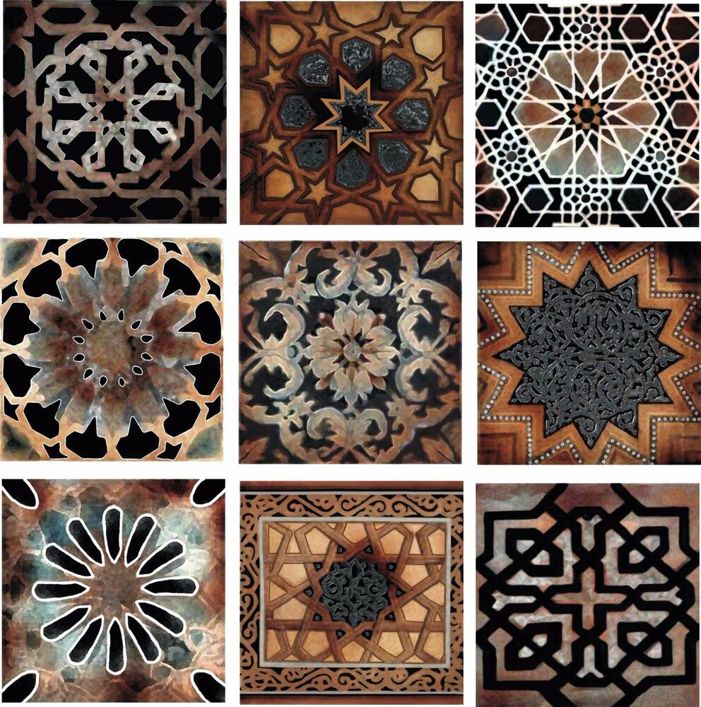 Old World Kitchen Back Splash Ceramic Decorative Accent Tile Set Of 9 Artistic Ebay