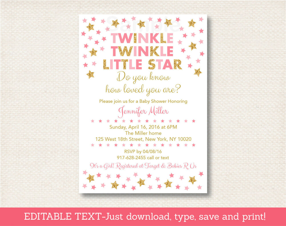 Pink & Gold Twinkle Little Star Printable Baby Shower
