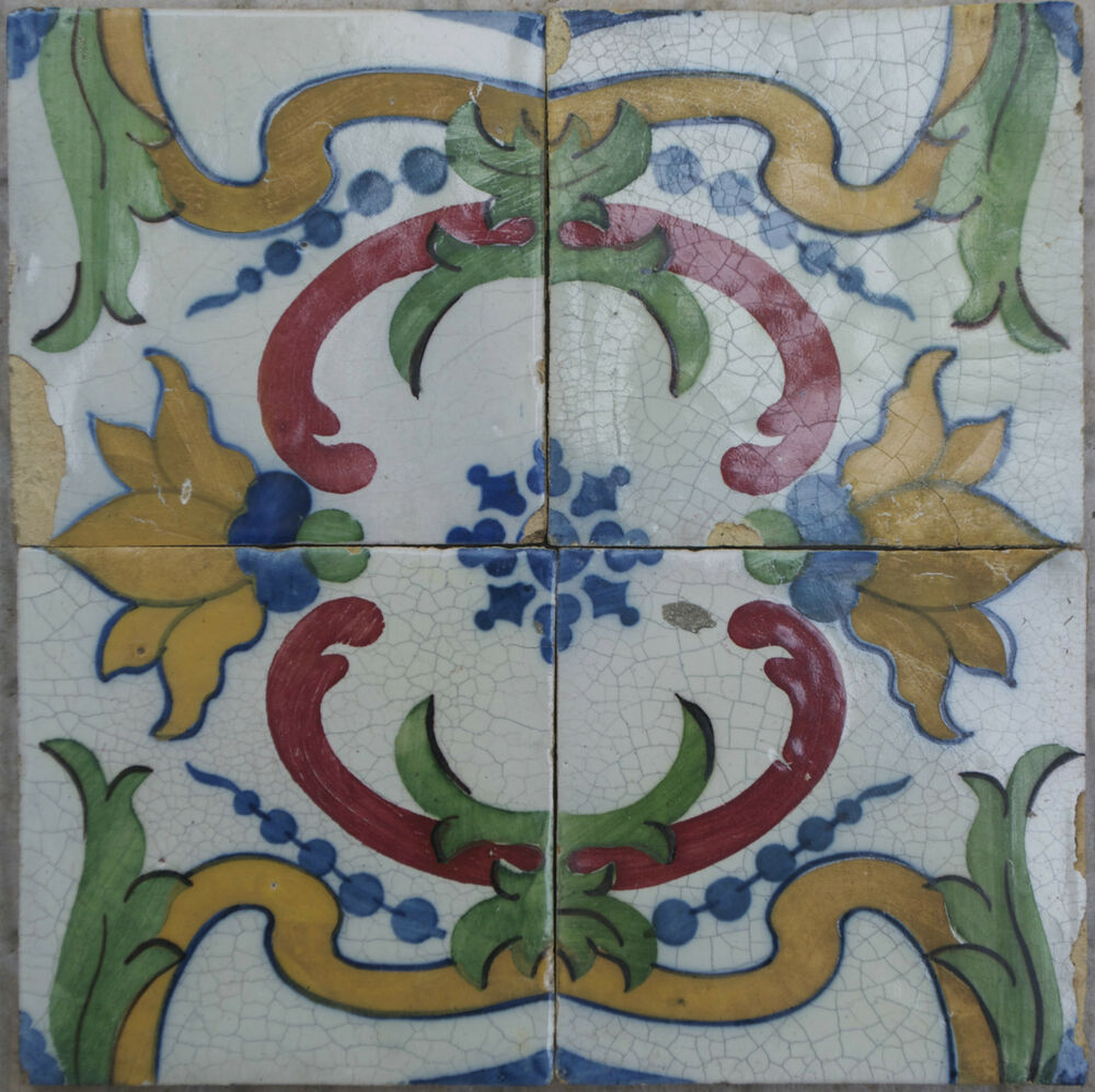 antique portuguese 4 tile set portuguese tile sec xix