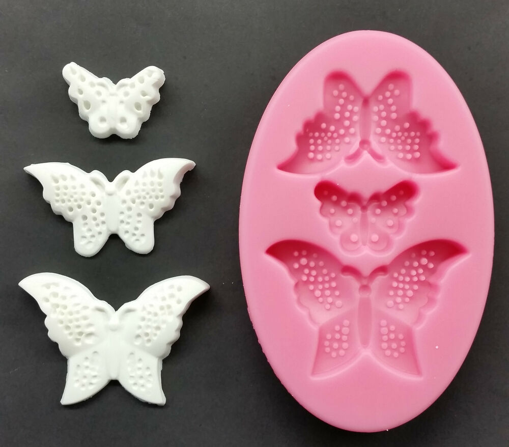 Cake Decorating Modelling Icing : SILICONE MOULD 3 BUTTERFLIES CAKE DECORATING MODELLING ...