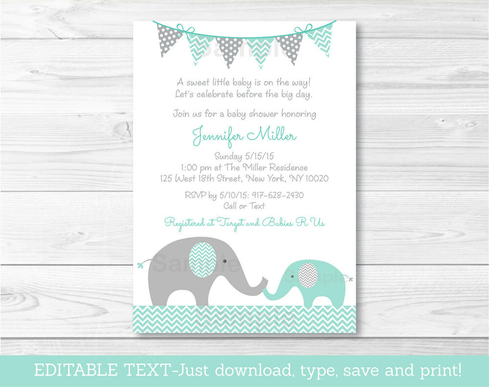 elephant baby shower invitations ebay