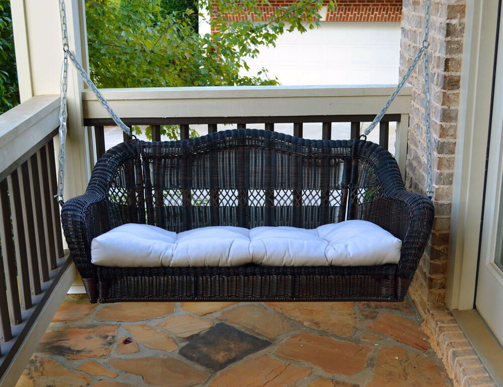 Wicker Porch Swing With Cushion Ebay