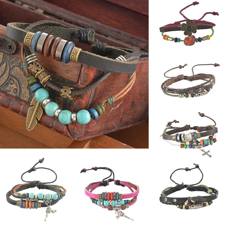 Shop beaded adjustable handmade leather bracelet jewelry for Custom made jewelry stores