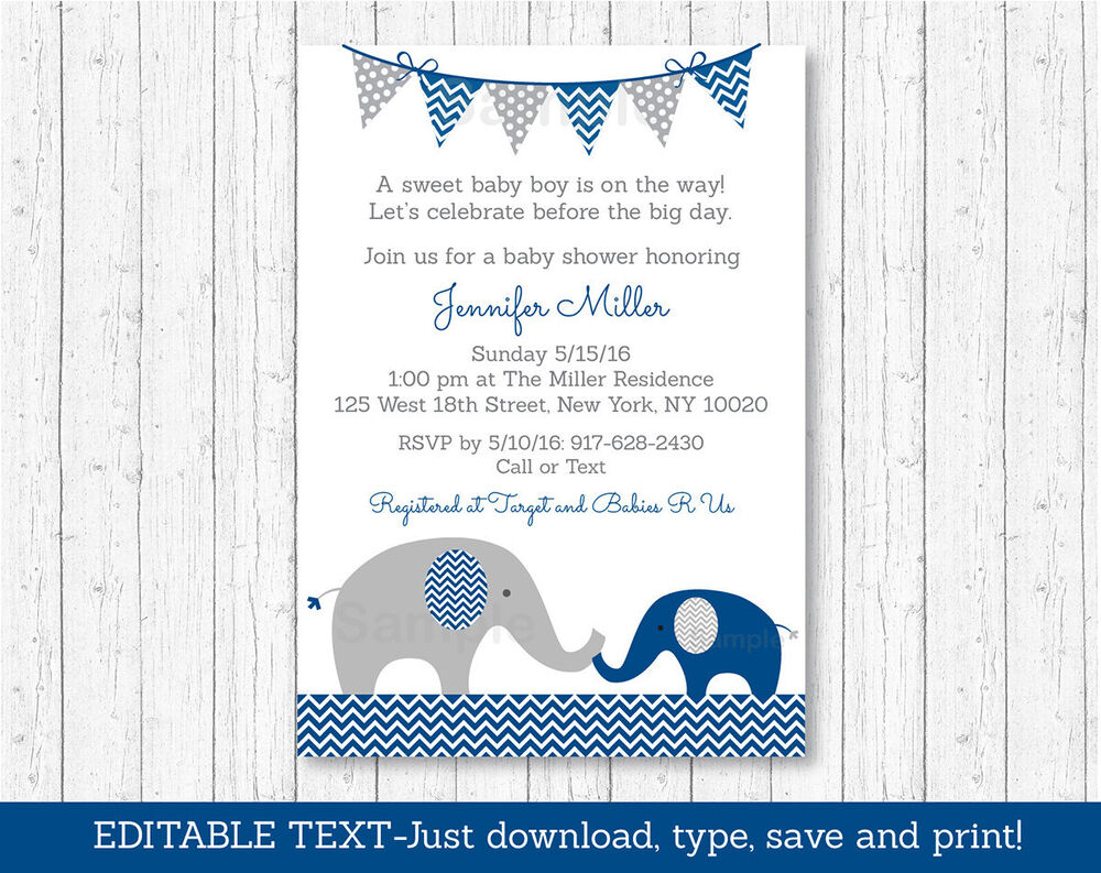 baby shower invitations navy blue amp grey chevron elephant printable baby shower 12235