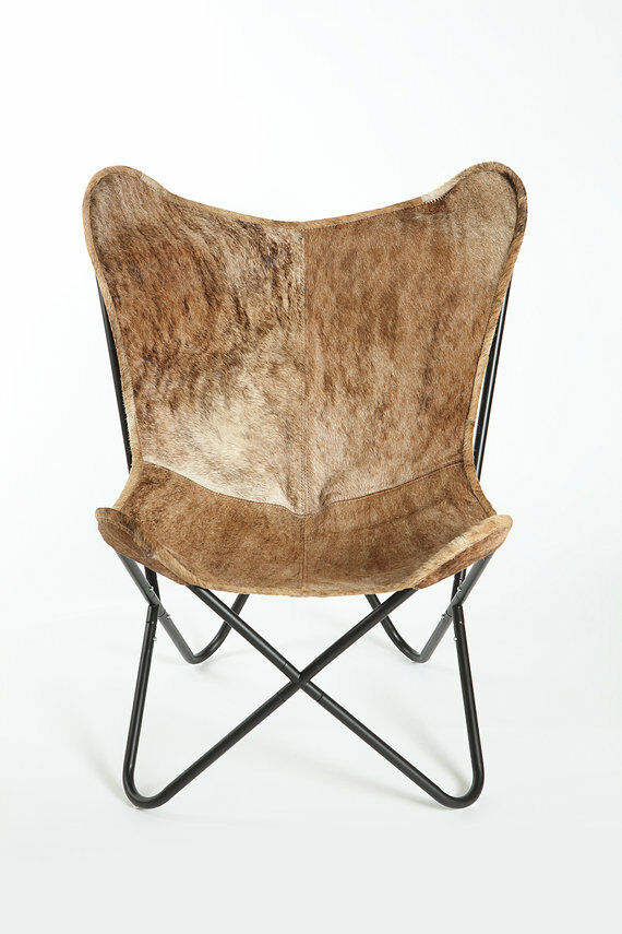 classic cover cowhide leather bkf butterfly chair only cover brindle 642534660307 ebay. Black Bedroom Furniture Sets. Home Design Ideas