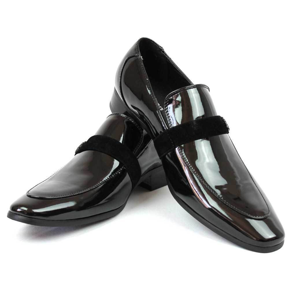 mens black faranzi patent leather tuxedo slip velvet