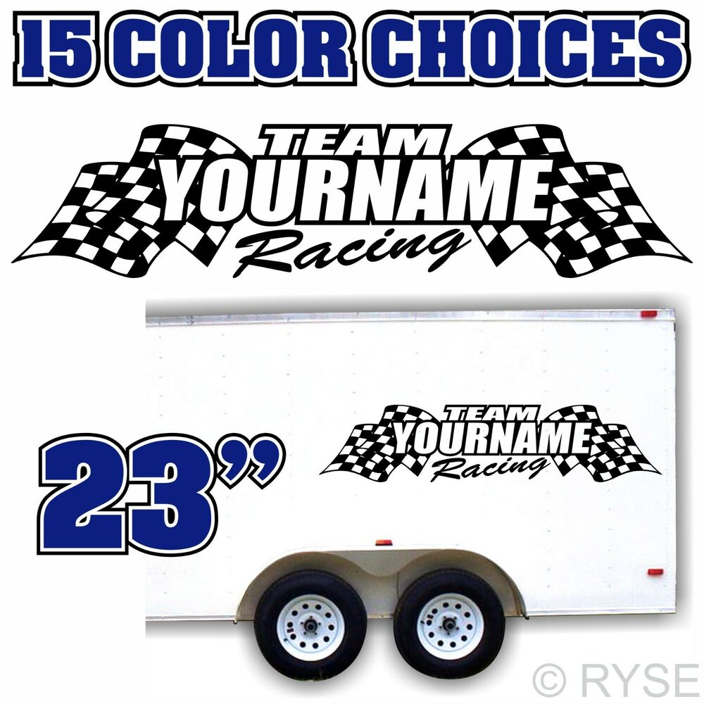 Details about custom name racing flag trailer graphic decal mx atv motocross kart race car rv