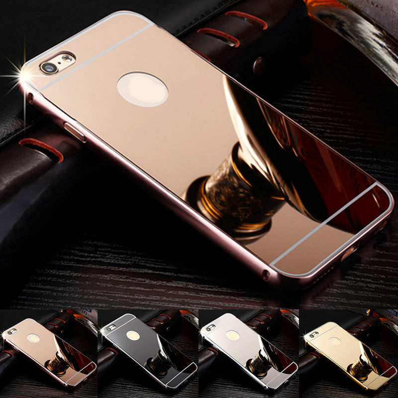 Details about Luxury Mirror Back Cover Skin Metal Aluminum Frame Case For Apple iPhone iPod