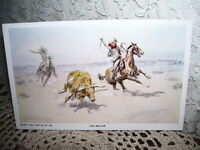THROWED COWBOY POSTCARD HORSE ART CHARLES RUSSELL