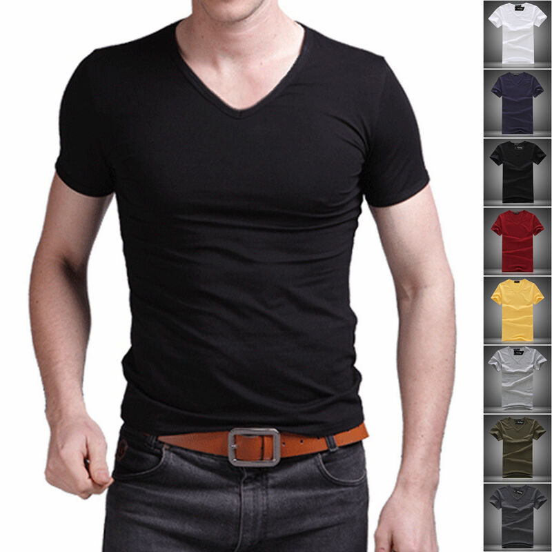 New men 39 s v neck tops tee shirt slim fit short sleeve for Plain colored v neck t shirts