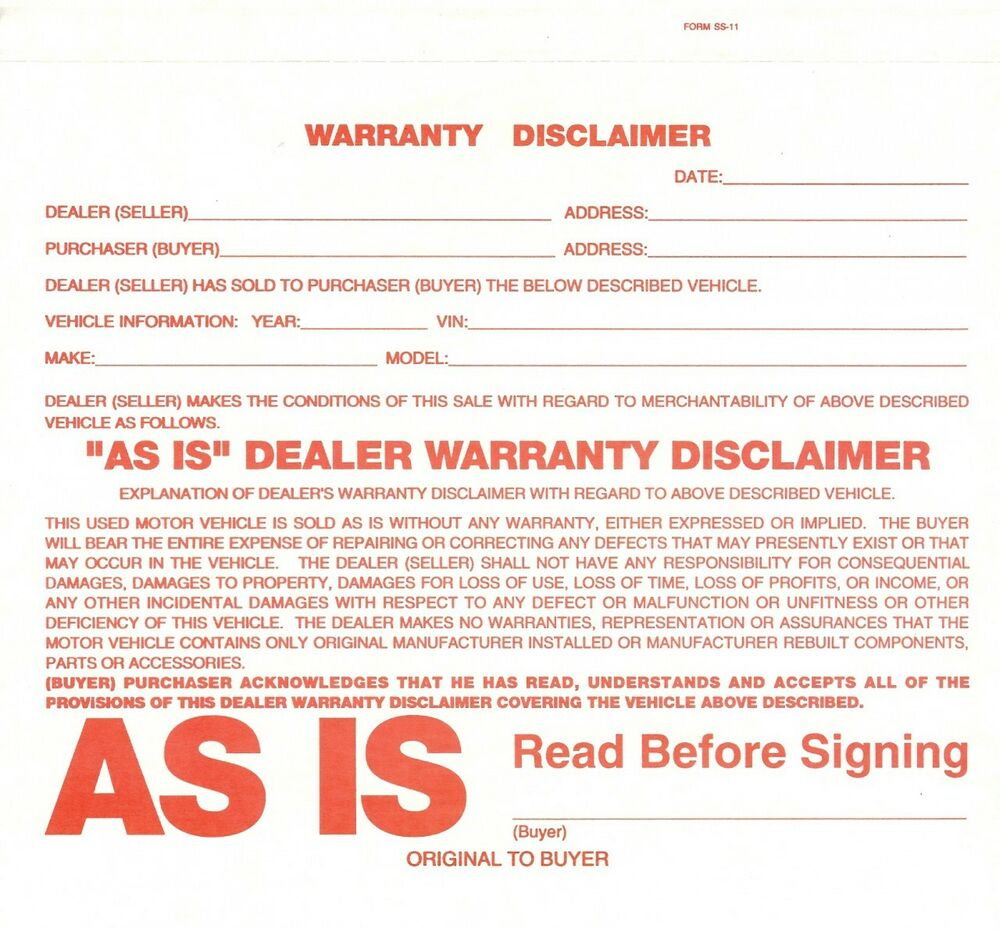 Dealer Warranty Disclaimer Form, Vehicle As Is Form, As Is