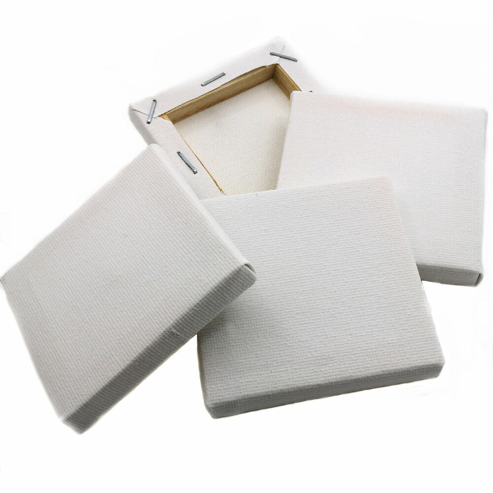 20 plain white mini small square canvas acrylic oil paint
