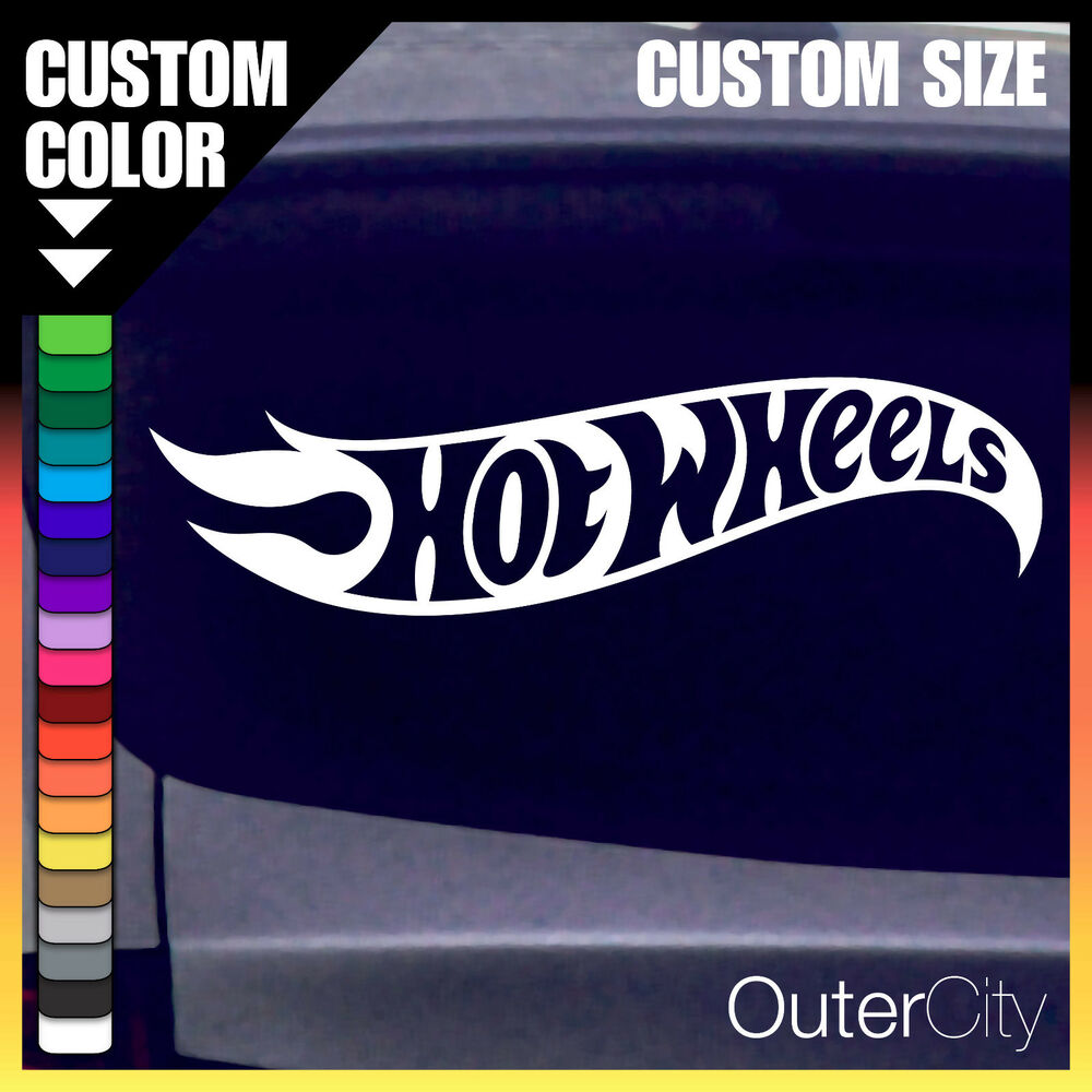 Hot wheels logo vinyl decal race car truck track custom for Hot wheels wall tracks template