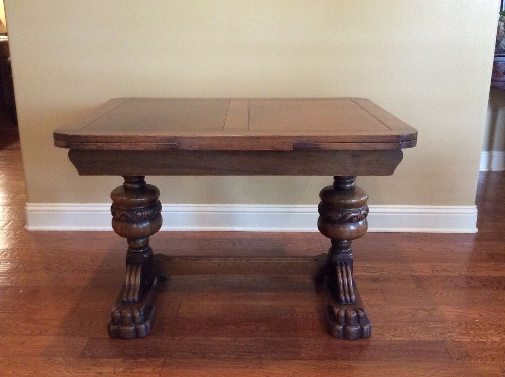 Antique English Oak Pull Out Leaf Dining Table With