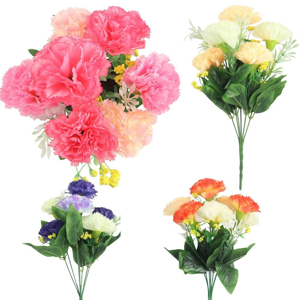 Real Vs Fake Flowers Wedding: 7 Head Artificial Carnation Bunch! Premium Silk Flowers