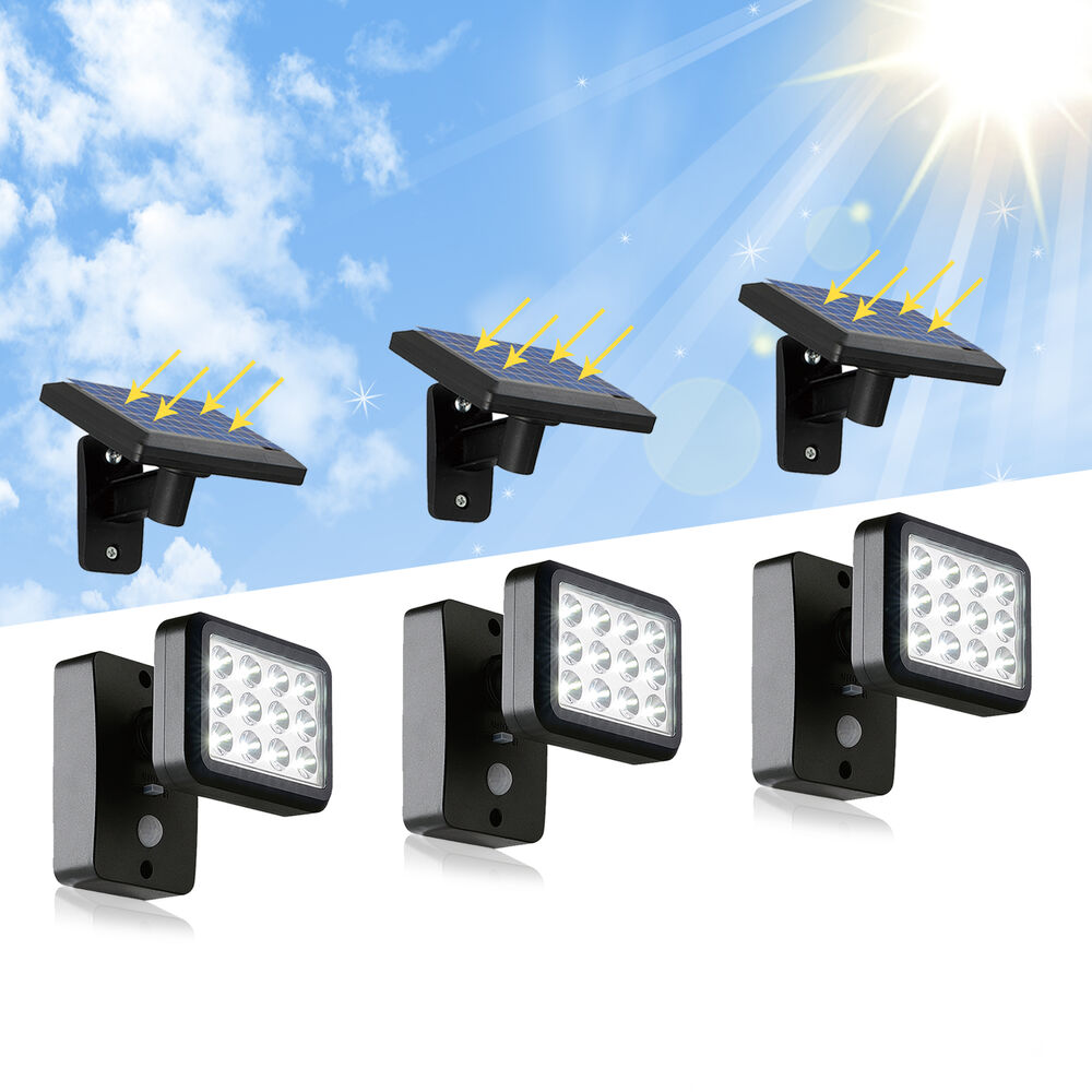 led solar solarleuchte wandlampe 300 lumen mit bewegungsmelder f r garage garten ebay. Black Bedroom Furniture Sets. Home Design Ideas
