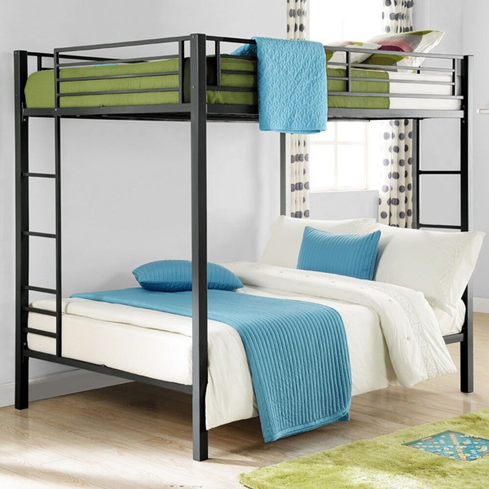 full size bunk beds black double bunkbeds kids dorm loft bed bedroom furniture ebay. Black Bedroom Furniture Sets. Home Design Ideas