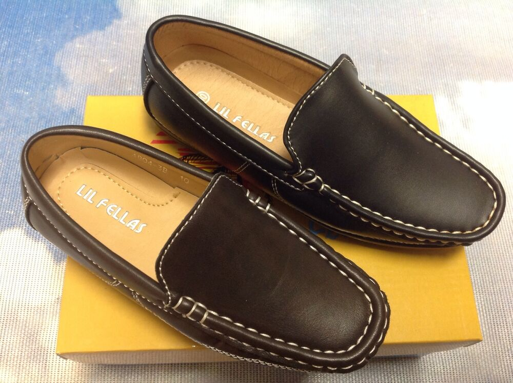 Lil Fellas Boy Slip-On Driving Mocs Loafer Dress Shoes ...