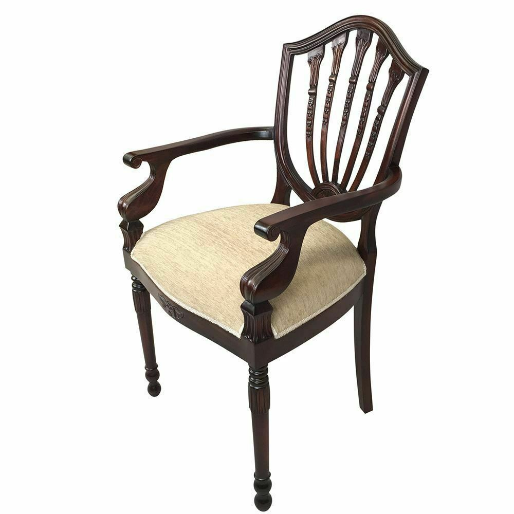 Solid mahogany wood upholstered carver chair antique hyper for Styles of upholstered chairs
