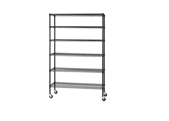 New Wire 6 Shelf Adjustable Shelving Unit With Casters 48