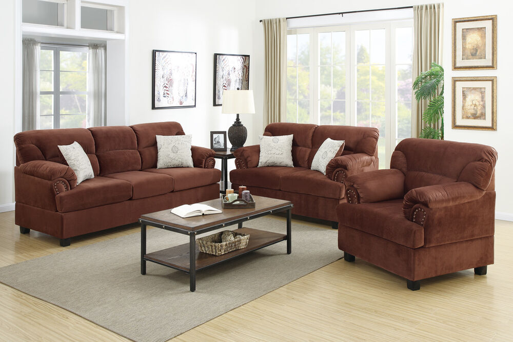 3 pc sofa set sofa loveseat chair in 4 colors microfiber living room furniture ebay for Microsuede living room furniture