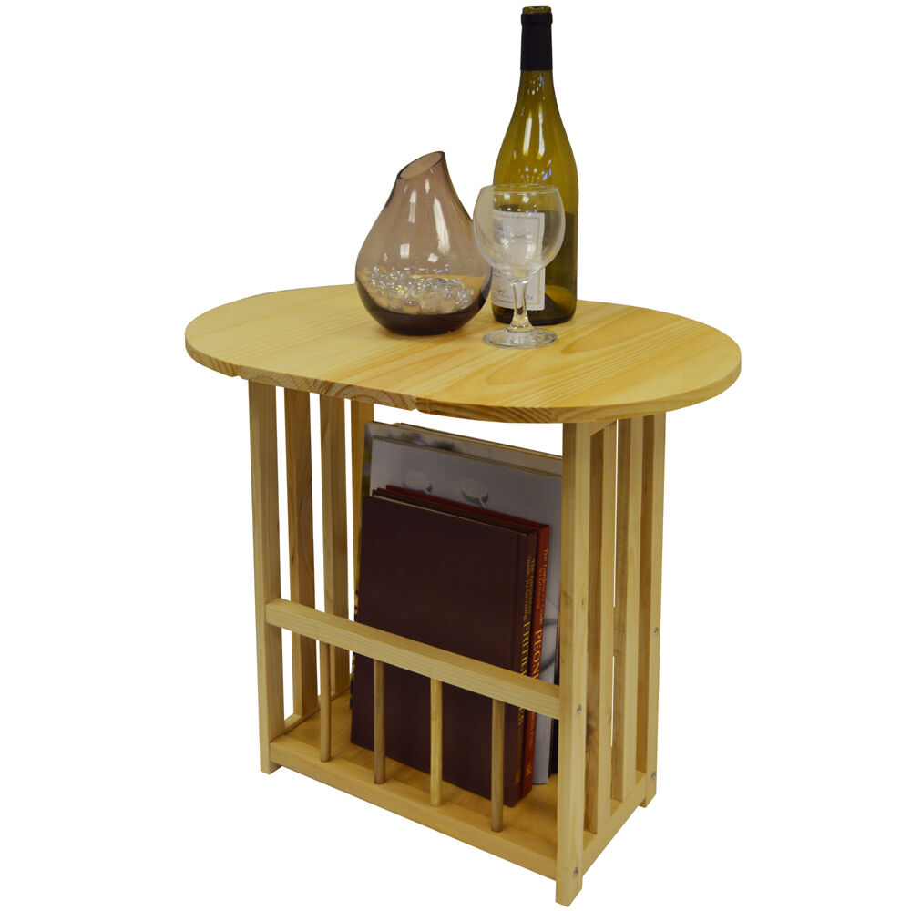 Swivel Side Table ~ Haughton swivel top side end table with storage rack