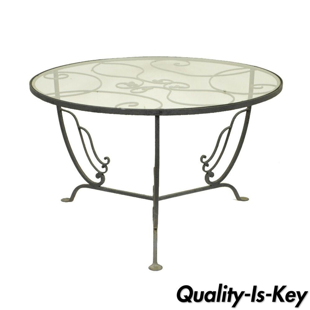 Vintage salterini wrought iron art nouveau deco patio garden round coffee table ebay Patio coffee tables